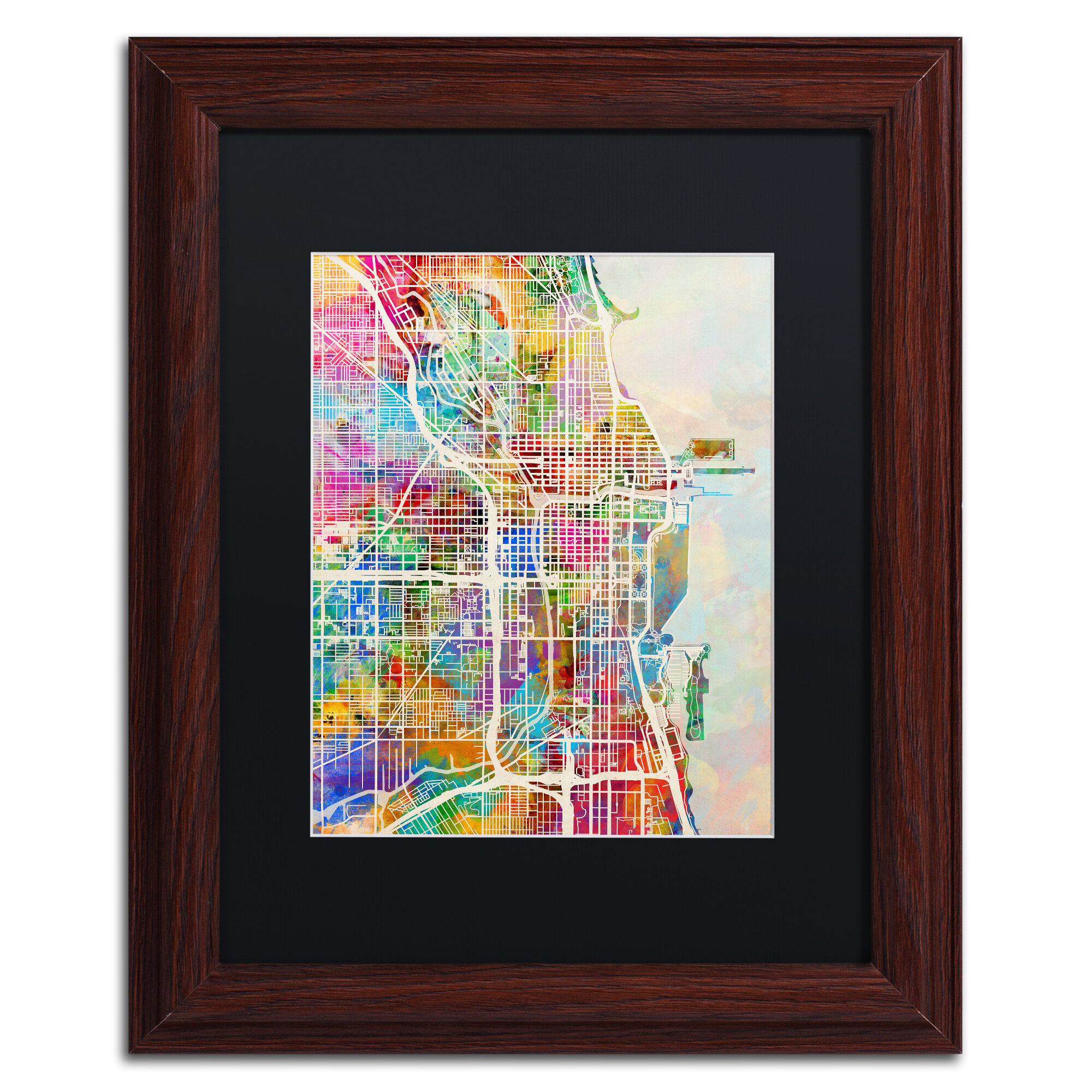 Trademark Art Chicago City Street Map Ii Framed Graphic Art Print On Canvas Wayfair