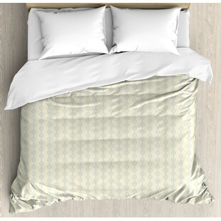 Retro Vertical Geometric Circular Pattern with Dots Continuous Chain Design Duvet Set by East Urban Home