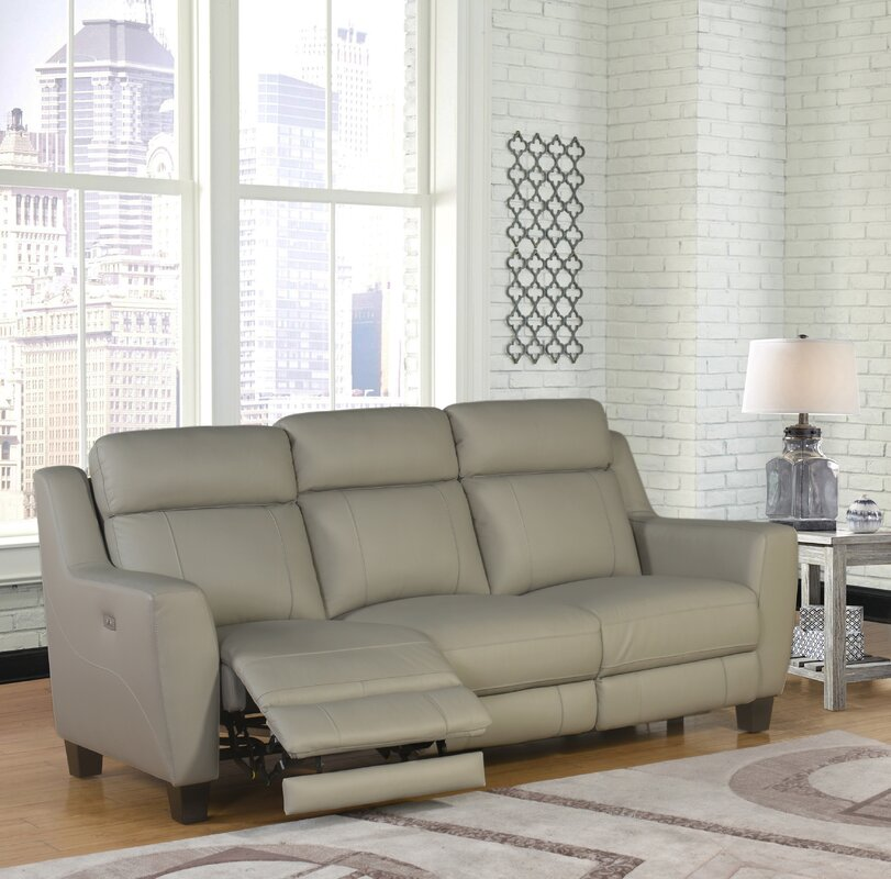 Great Florham Gray Top Grain Leather Power Reclining Sofa And Recliner Set
