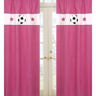 Soccer Pink Sports Semi-Sheer Rod pocket Curtain Panels (Set of 2) by Sweet Jojo Designs