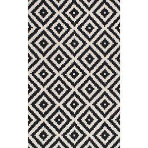 black and white geometric rug. climer hand-tufted black area rug and white geometric