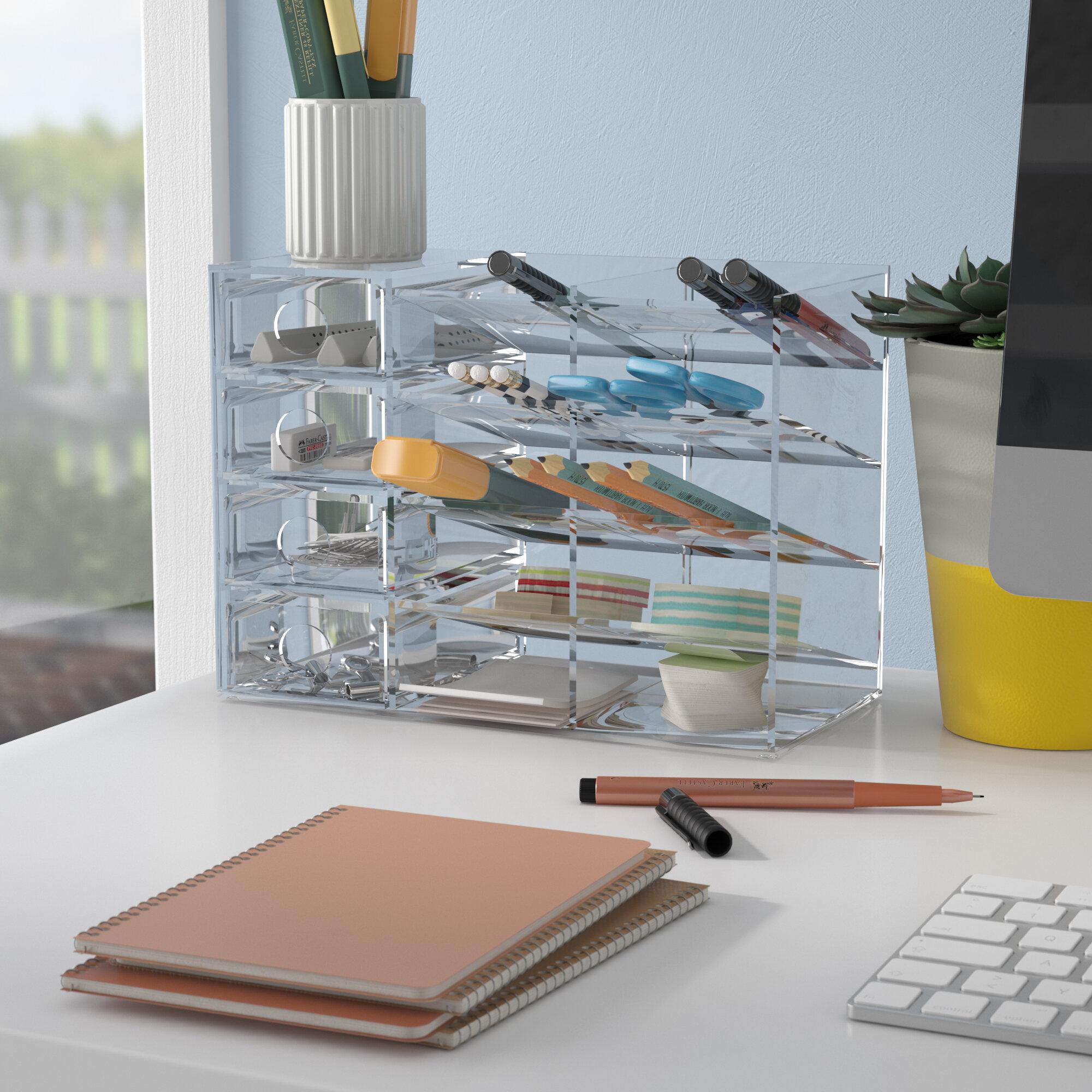 Rebrilliant Acrylic Four-Shelf Office Supply Organizer Storage ...
