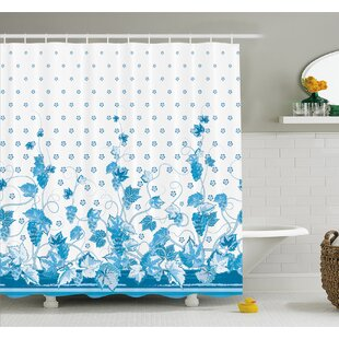 Grapes Victorian Swirling Motif Monochrome Spotted Kitsch Nostalgic Vivid Image Shower Curtain Set