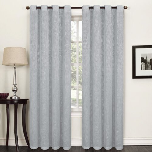 Willhite Eyelet Semi Sheer Thermal Single Curtain Marlow Home Co. Colour: Grey