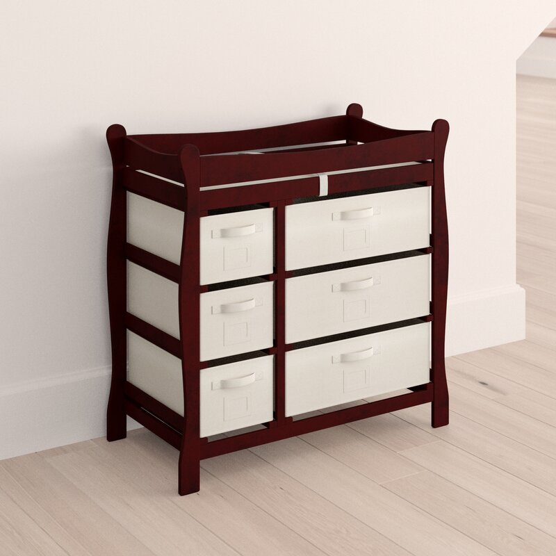 Shannon Sleigh Style Baby Changing Table with 6 Baskets Viv + Rae