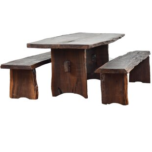 Kirkwood 3 Piece Solid Wood Dining Set Loon Peak