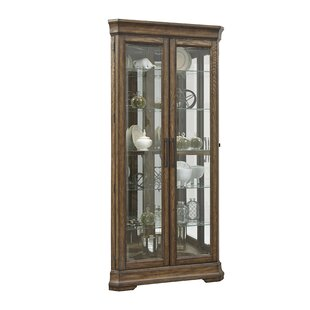 Caudill 5 Shelf Double Door Lighted Corner Curio Cabinet