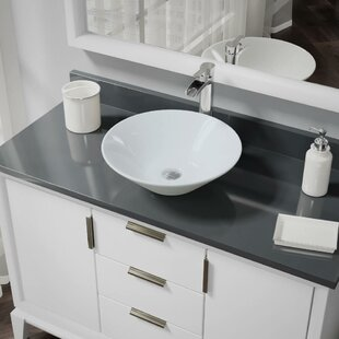 Vitreous China Circular Vessel Bathroom Sink with Faucet and Overflow by René