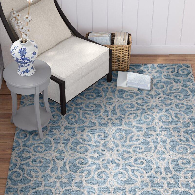 Ophelia Co Galen Handmade Wool Blue Area Rug Wayfair