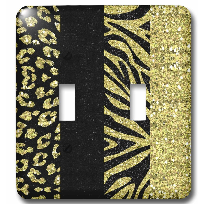 3drose Printed Glitter Effect Animal Print Leopard And Zebra 2 Gang Toggle Light Switch Wall Plate Wayfair