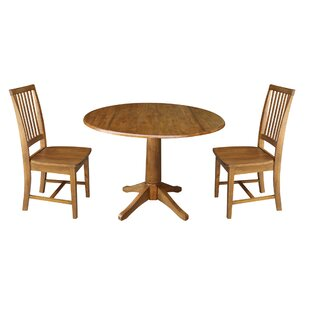 Spriggs Round Top Pedestal Extending 3 Piece Drop Leaf Solid Wood Dining Set