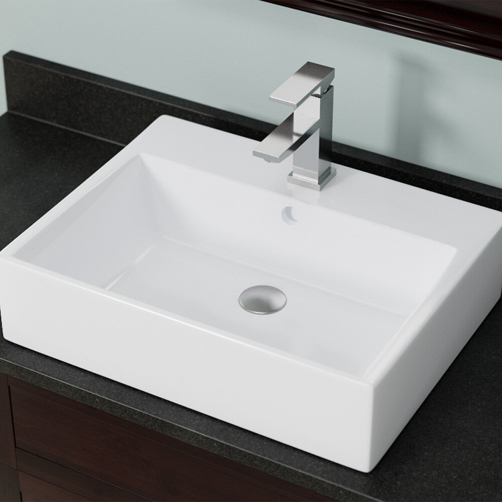 Mrdirect Vitreous China Rectangular Vessel Bathroom Sink With Overflow Reviews Wayfair