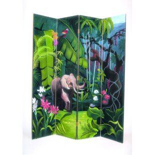 Bloomsbury Market Aguero Elephant in Jungle 4 Panel Room Divider