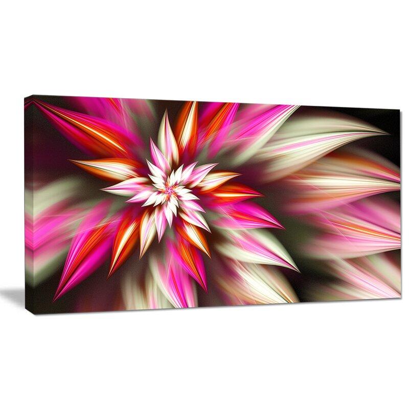 Designart Exotic Red Fractal Spiral Flower Graphic Art On Wrapped Canvas Wayfair