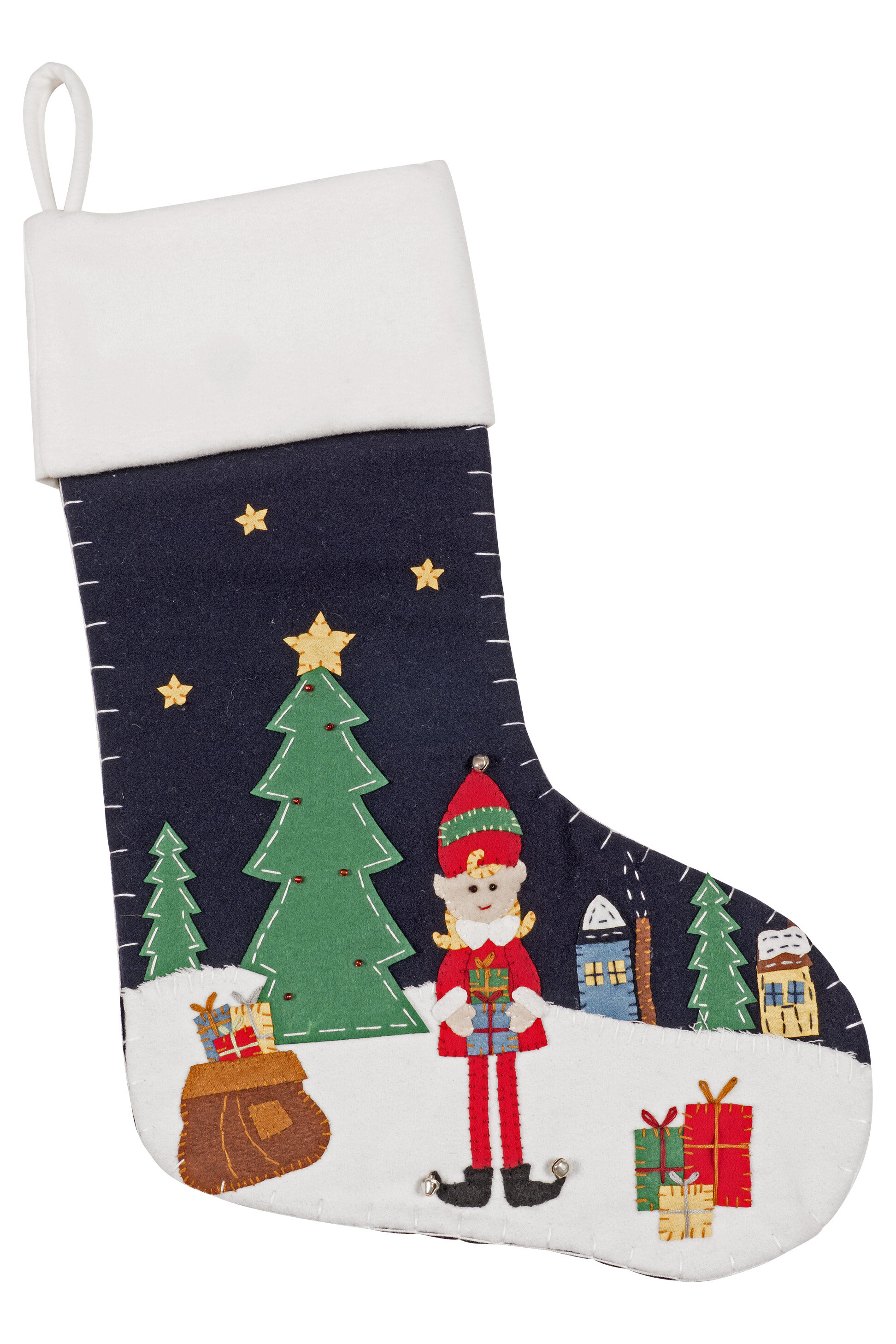 Making Christmas Stocking.Christmas Stocking In Elf Girl