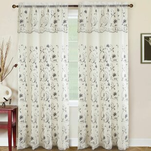 Krafton Embroidered Floral/Flower Semi-Sheer Rod Pocket Single Curtain Panel by Charlton Home