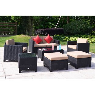 Wilbraham 7 Piece Rattan Sofa Seating Group with Cushions