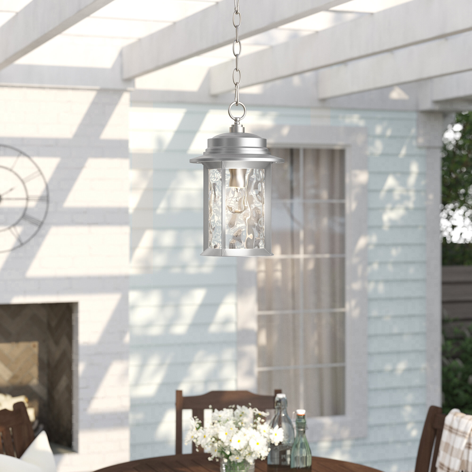 Three Posts Osmond 1 Light Glass Shade Outdoor Hanging Lantern Reviews Wayfair