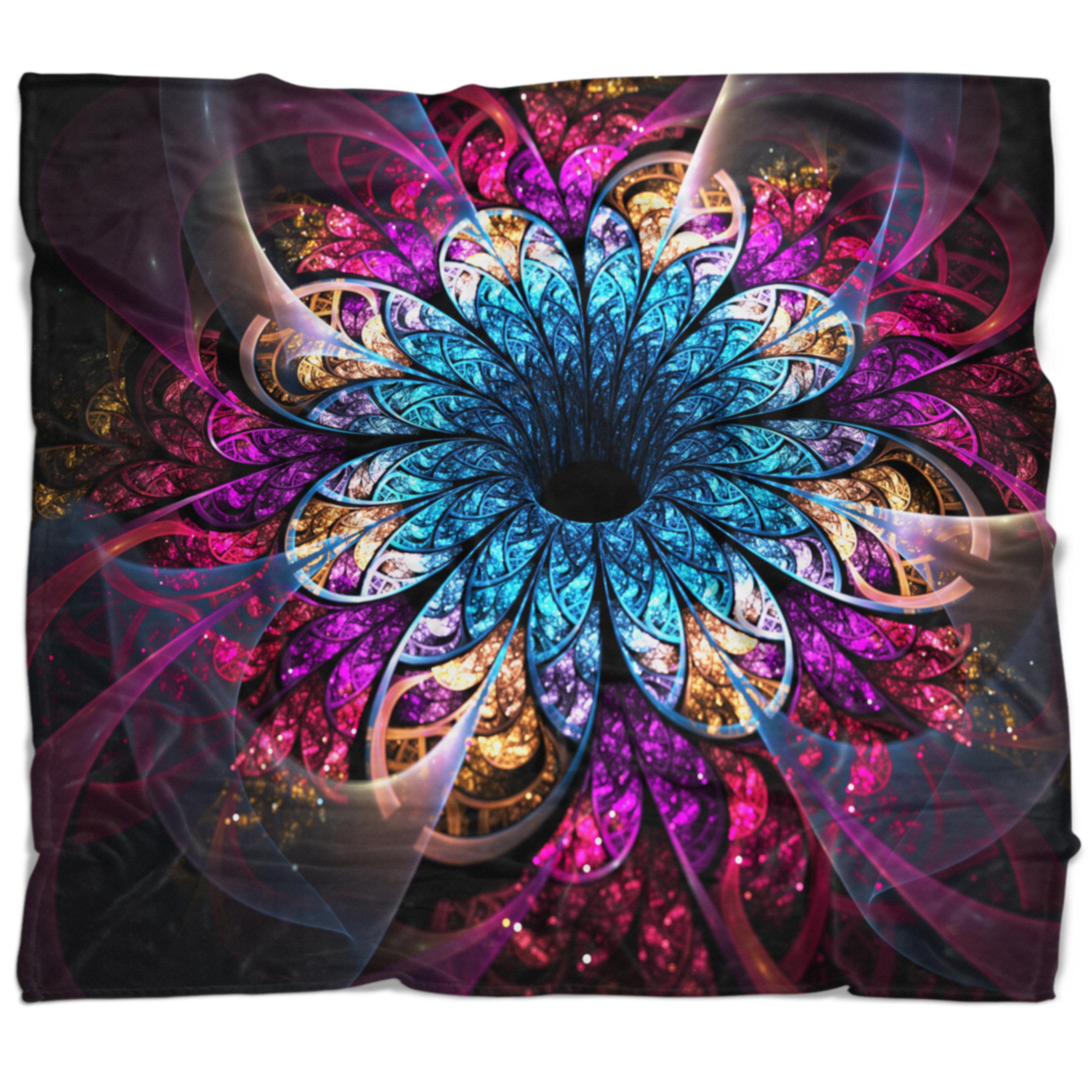 East Urban Home Flower Fractal Digital Art Blanket Wayfair