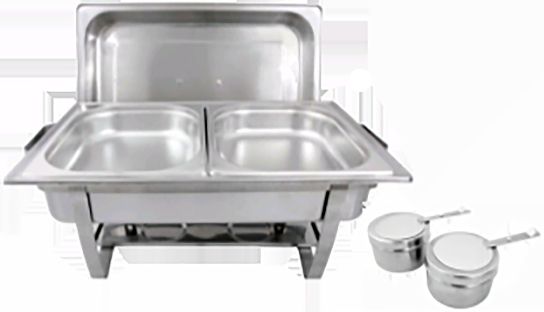 """4 Full Size 2 1//2/"""" Deep Stainless Steel Hotel Food Pans for 8 Qt Chafing Dishes"""