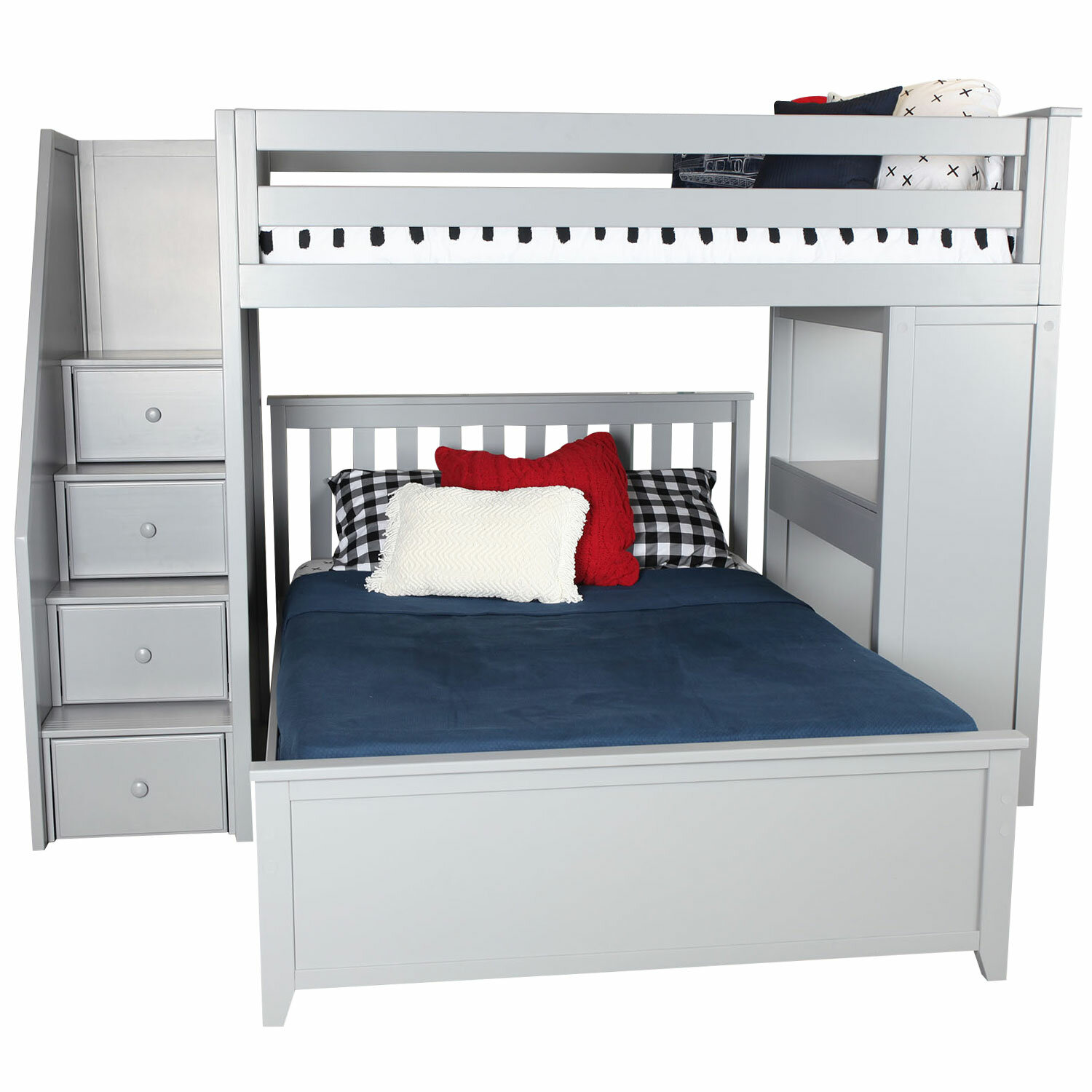 a2447a247592 Zoomie Kids Alvarez Staircase Combo Twin over Full L-Shaped Bunk Bed    Reviews