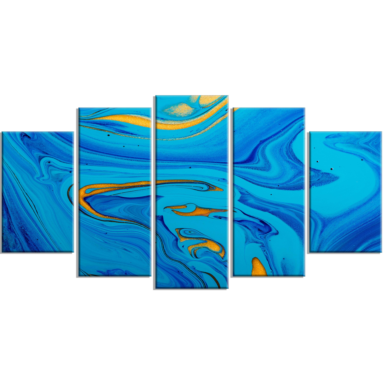 Designart Light Blue Abstract Acrylic Paint Mix 5 Piece Wall Art On Wrapped Canvas Set Wayfair