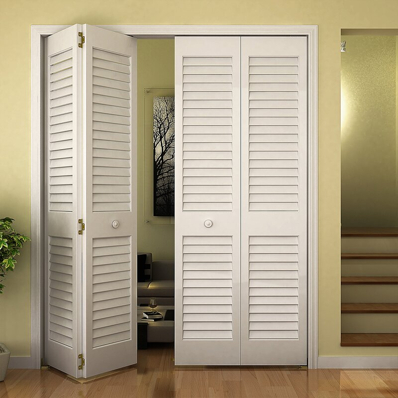 Louvered Pine Wood Painted Plantation Bi Fold Door