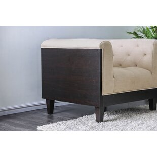 Bay Isle Home Flower Button-Tufted Fabric Wooden Armchair