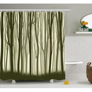 Burdella Mother Nature Theme Illustration of Mystic Forest With Trees Single Shower Curtain