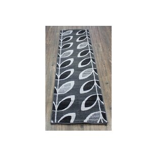 Best Choices Moriz Leaf Black/Gray Area Rug ByWinston Porter