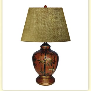 Bamboo Jar Hand Painted Porcelain 26 Table Lamp