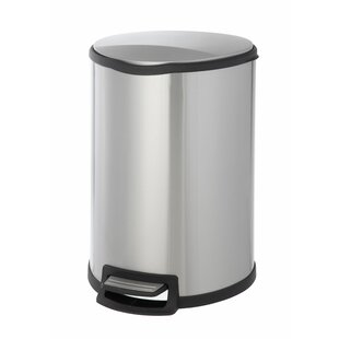 HomeZone Stainless Steel 11.88 Gallon Step On Trash Can