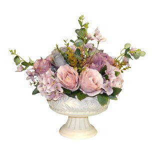 Rose and Hydrangea Centerpiece in Urn by One Allium Way