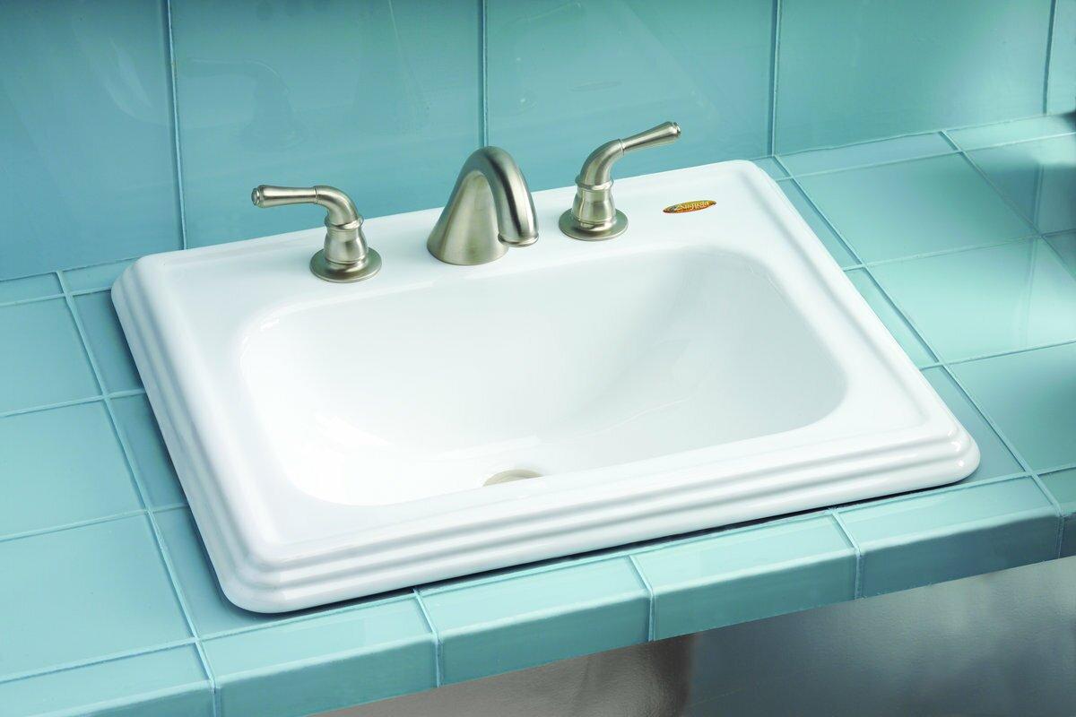 Toto Promenade Ceramic Rectangular Drop-In Bathroom Sink with ...