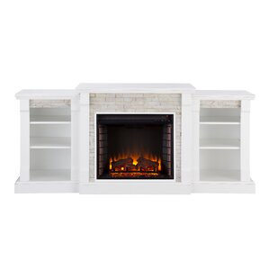 Blalock Simulated Stone Bookcases Electric Fireplace by Ivy Bronx
