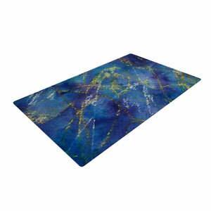 Cyndi Steen Deep Abstract Blue/Yellow Area Rug