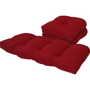 Solid 3 Piece Outdoor Loveseat Chair Cushion Set