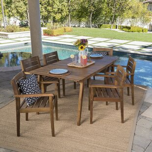 Bungalow Rose Cremeans Outdoor 7 Piece Dining Set
