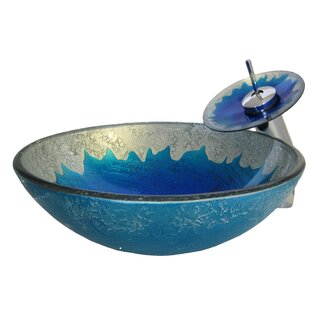 Low priced Diaccio Glass Circular Vessel Bathroom Sink with Faucet By Novatto
