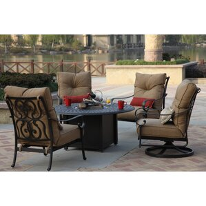 Perfect Santa Anita 5 Piece Fire Pit Seating Group With Cushions