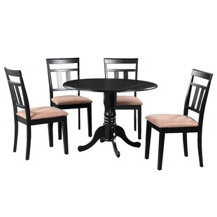 Sickles 5 Piece Drop Leaf Solid Wood Dining Set in Black/Brown August Grove