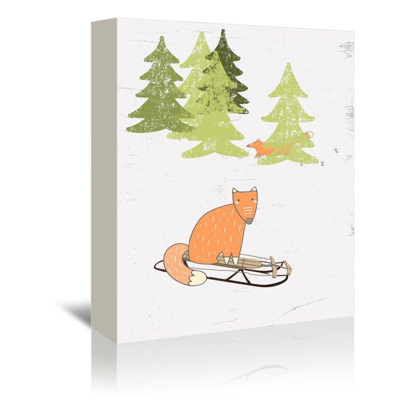 East Urban Home Winter Forest Snow Fox Animal 2 Graphic Art Print On Canvas Wayfair
