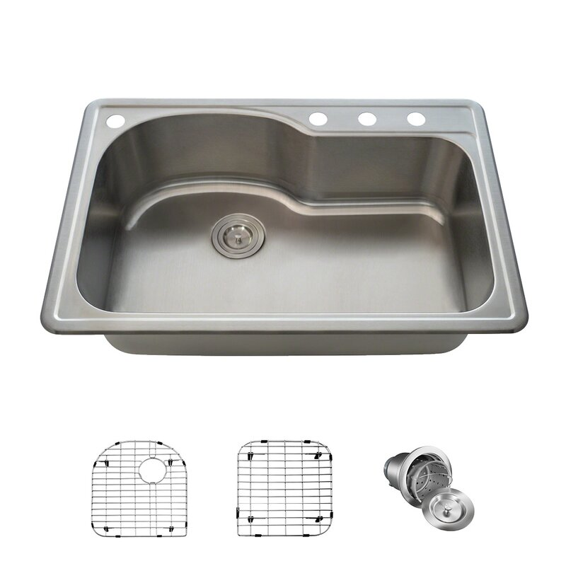 Mrdirect Single Bowl Stainless Steel 33 X 22 Drop In Kitchen Sink With Additional Accessories Reviews Wayfair