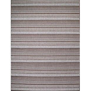 Starks Stripe Dark Brown Indoor/Outdoor Area Rug