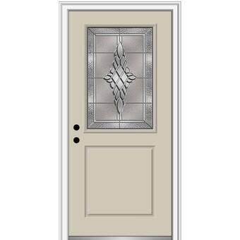 Verona Home Design Grace Painted Both Sides The Same 1 2 Lite 1 Panel Fiberglass Prehung Front Entry Door On 4 9 16 Frame Wayfair