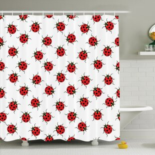 Kids Cute Ladybugs Shower Curtain Set