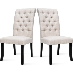 Fikes Tufted Linen Parsons Chair in Beige Set of 6 by One Allium Way