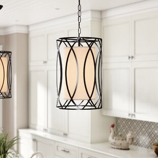 Winston Porter Franck Wrought Iron 1-Light Cylinder Pendant
