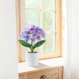 1 Set Artificial Silk Hydrangea In Cement Pot, Faux Purple Flower Bouquet/ Potted Fake Silk Flower For Home & Office&Wedding Party Decor