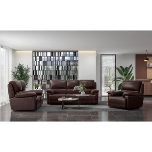 Adylin Leather Reclining Configurable Living Room Set by Red Barrel Studio